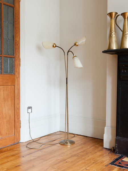 Articulated Three Arm Brass Floor Lamp