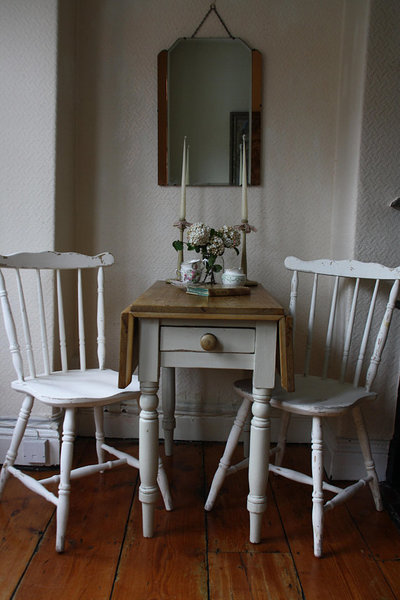 Substantial Pair Of Pine Spindle Back Farmhouse Chairs With Shabby Paintwork In White