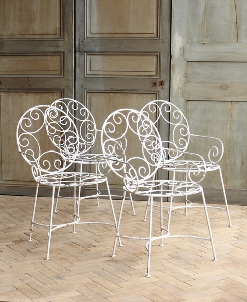Vintage French Curly White Garden Arm Chairs Mid Century
