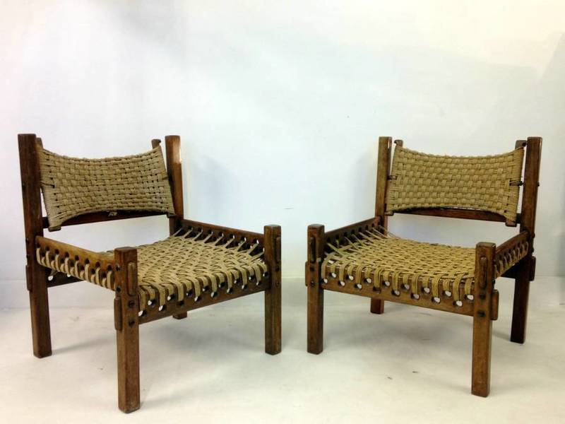 Pair Of Teak And Rope Chairs