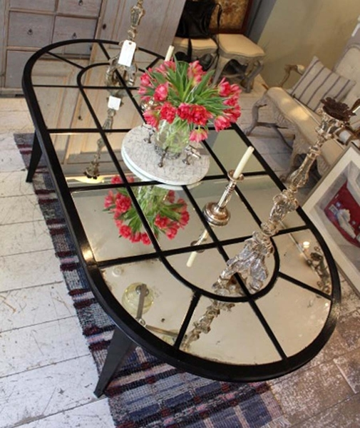 French 1940s D End Table With Mercury Glass Mirror Plate