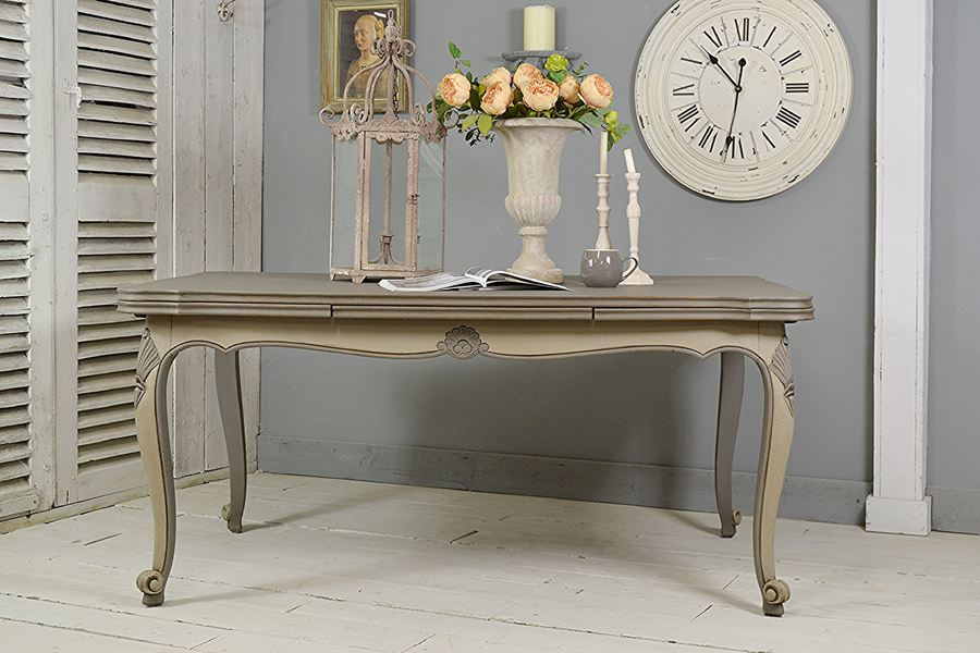 Vintage French Shabby Chic Extending Dining Table (Grey)