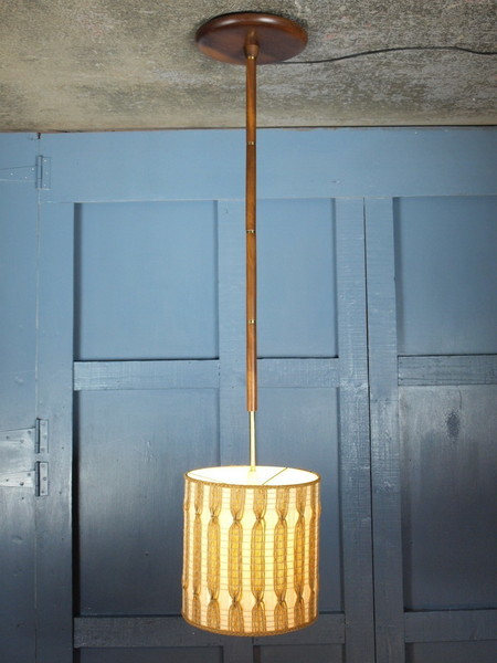Mid Century Vintage 1960s Teak And Brass Standard Lamp With Original Shade