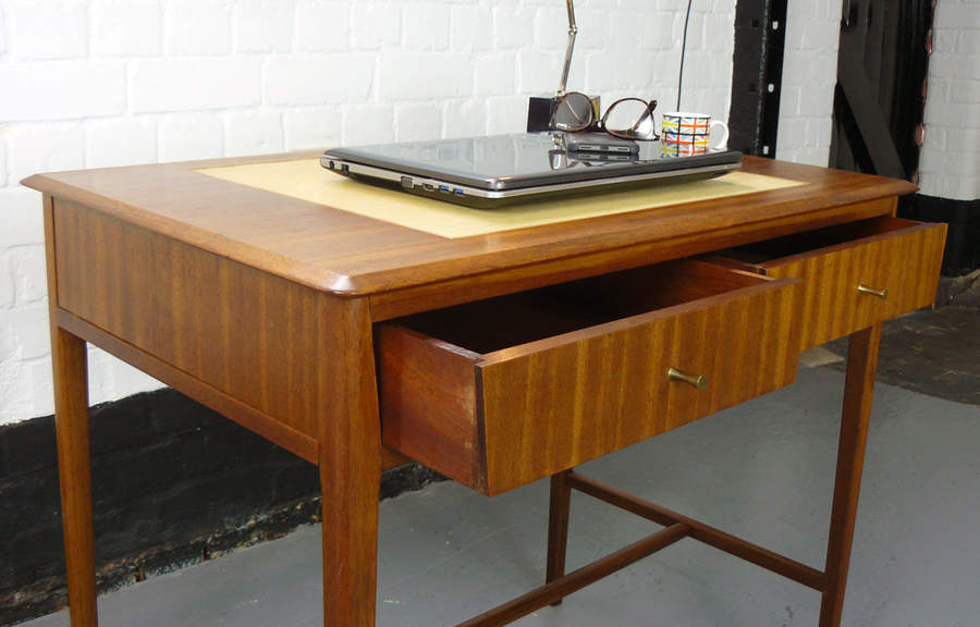 Attractive English 1960s Mid Century 2 Drawer Console Table Small Desk