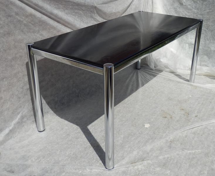 Stylish Retro Vintage Italian 70 S Black Ash And Chrome Dining Table On Trend