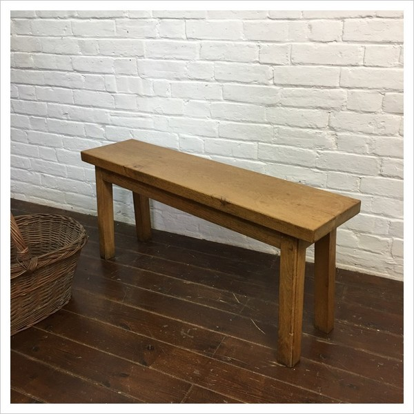 Small French Oak Church Pew Bench