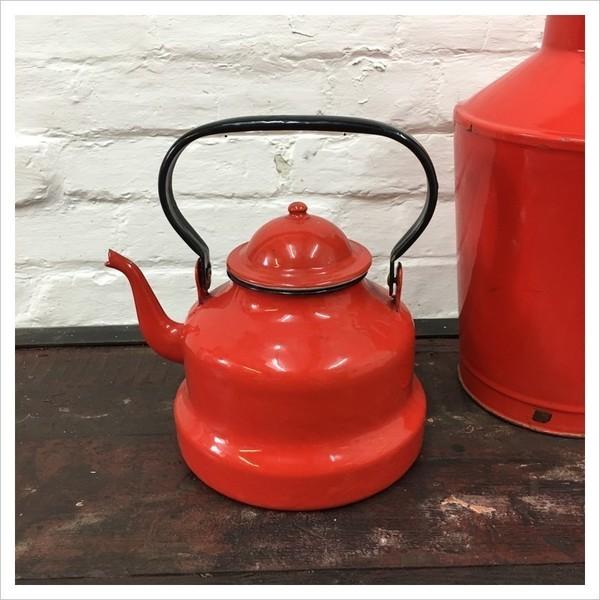 Red French Enamel Tea Pot