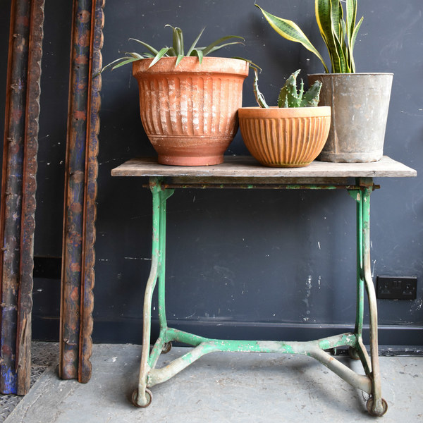 Small Vintage Industrial Desk   Green Painted Cast Iron Base Table Solid Oak Top