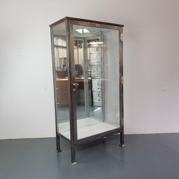 Vintage Stripped Metal Glass Display Cabinet
