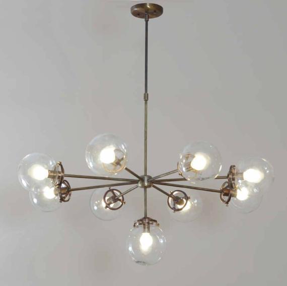 "Modernist Chandelier Glass Balls Ceiling Light Pendant Lamp Fixture 38"" Diameter"