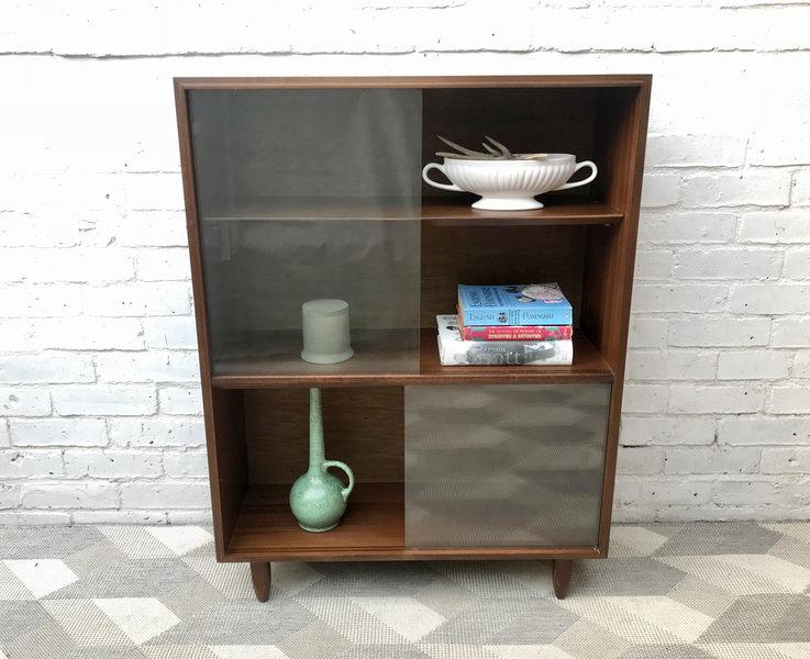 Vintage Bookshelf Cabinet Glass Wood