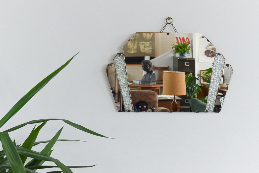 Vintage Small Art Deco Fan Shaped Frameless Wall Mirror With Textured Glass