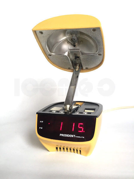 70s Retro Vintage Space Age President Oyster Clam Digital Alarm Clock & Lamp