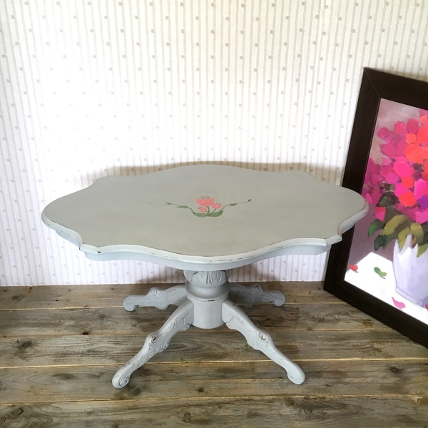 Grey Painted Oval Coffee Table