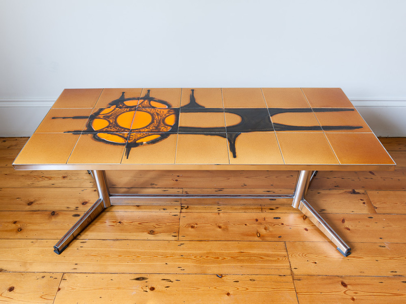 Tiled Top And Chrome Coffee Table photo 1