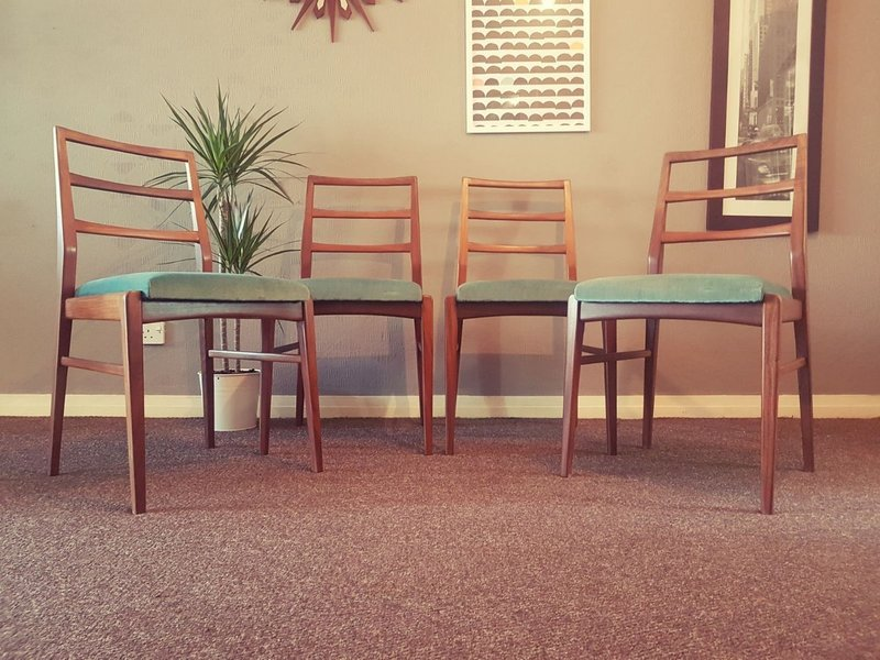 Set Of 4 Danish Solid Teak Ladder Back Dining Chairs Teal Mid Century Retro