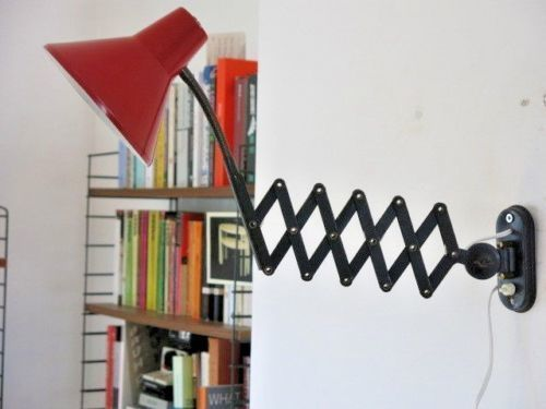 Vintage Hala Zeist Red & Black Scissor Lamp 20th Century Wall Light