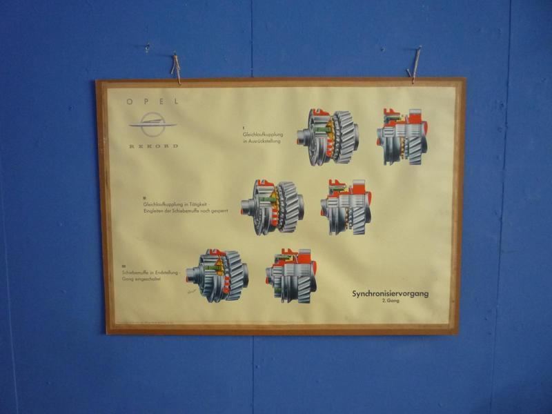 Synchronization Procedure Driving School Teaching Board By Opel, 1950s