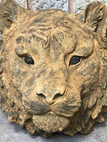 Georgian Sculpture Old Style Stone Mountain Lion Tiger Bust Garden Wall Plaque