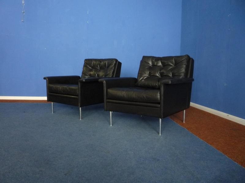 Mid Century Leather Lounge Chairs From Behr, 1960s, Set Of 2