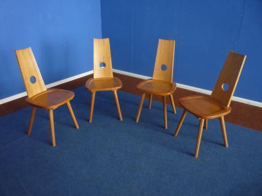 German Solid Beechwood Chairs, 1950s, Set Of 4