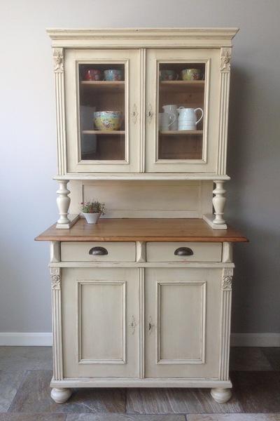 Antique Continental Gustavian Painted Pine Cream White Glazed Welsh Dresser Larder Cupboard Kitchen Unit Annie Sloan Old Ochre Victorian