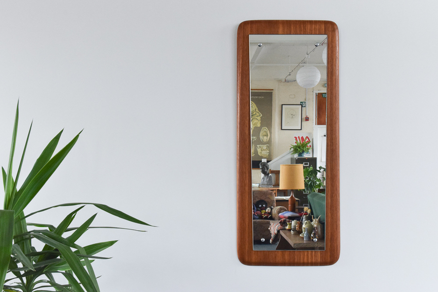 Vintage Long Teak Float Mounted Mirror On Thick Frame By Scintilite
