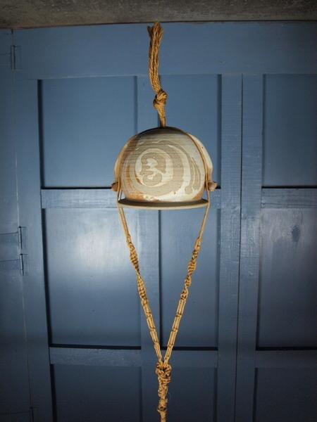 Mid Century Vintage 1970s Boho Artisan Pottery Planter Handmade Macrame Hanging Basket
