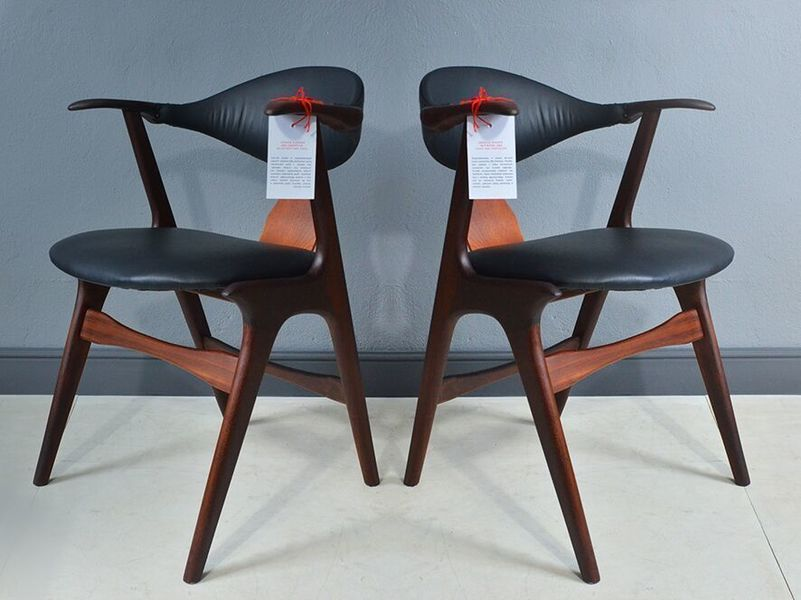 Pair Of Cowhorn Chairs By Louis Van Teeffelen For Awa
