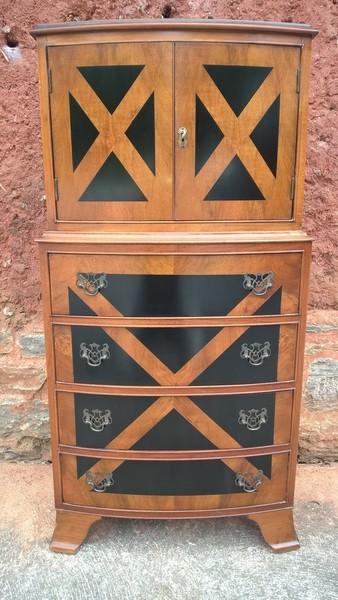 Walnut Tallboy / Drinks Cabinet / Chest Of Drawers