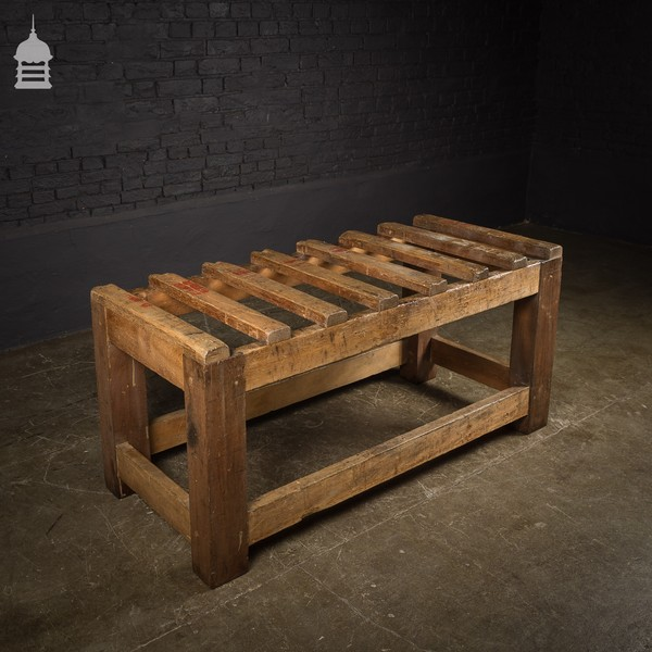 Industrial Hardwood Slatted Bench With Waxed Finish