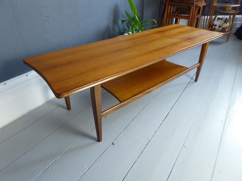 Vintage Retro Mid Century Richard Hornby For Heals Teak Surfboard Coffee Table