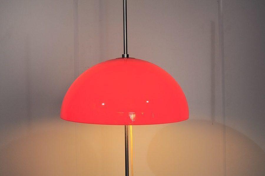 Vintage Orange Plexiglas Floor Lamp, 1970s