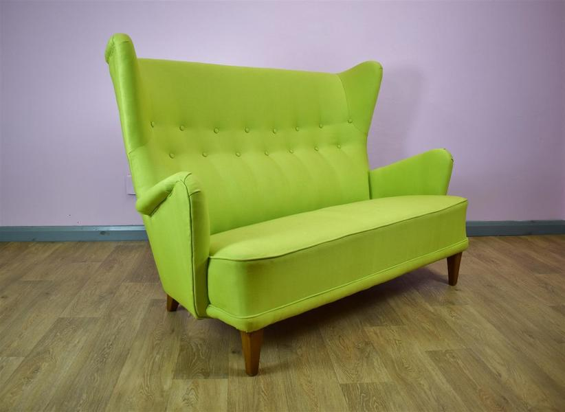 Mid Century Retro Vintage Danish Lime Green Two Seat Sofa Settee 1950s 60s