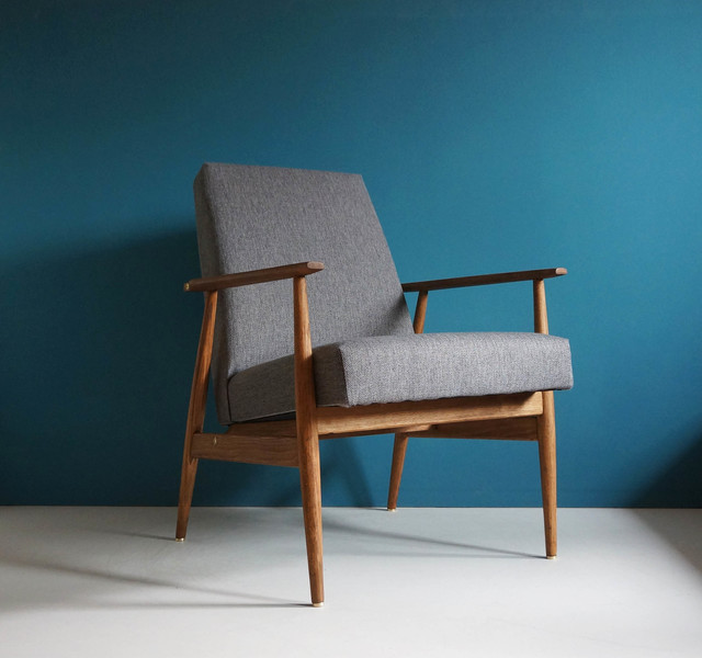 Vintage Armchair Form Mid Century, Gray, Restored