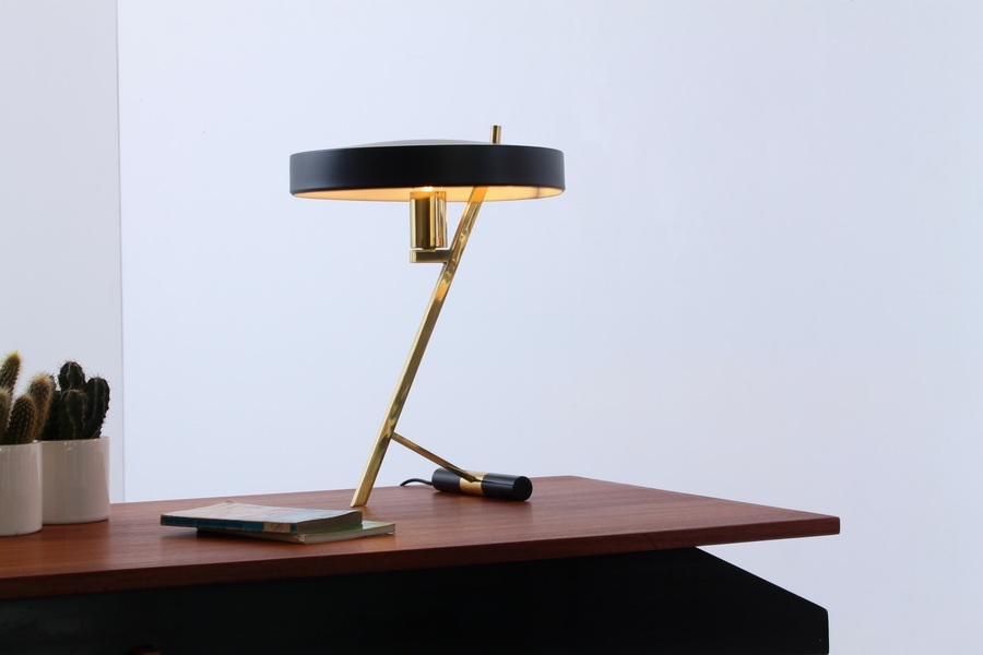 Louis Kalff Z Lamp Black And Brass Midcentury / Deco Table Light 1950s
