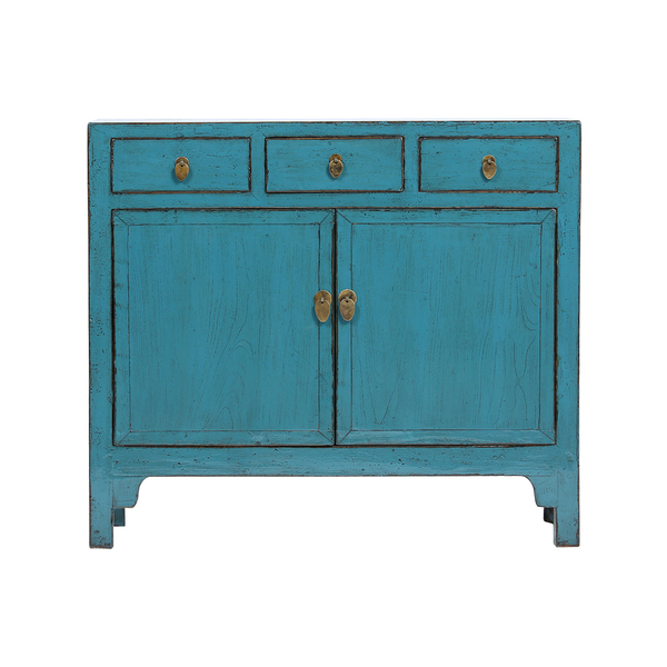 Vintage Blue Chinese Elm Cabinet From Shandong