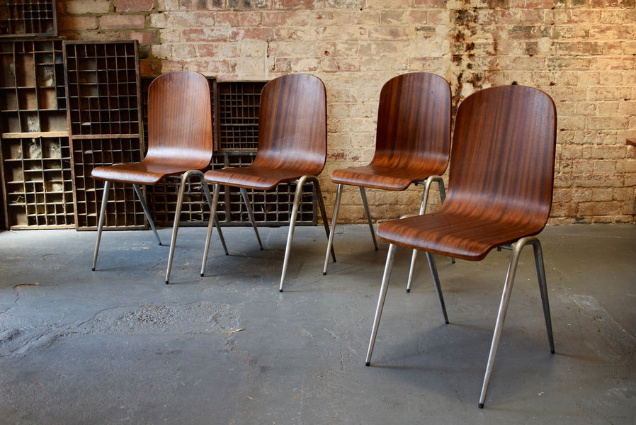 Vintage Teak & Chrome Stacking Dining Chairs X4 Midcentury Tapered Legs Bar Cafe