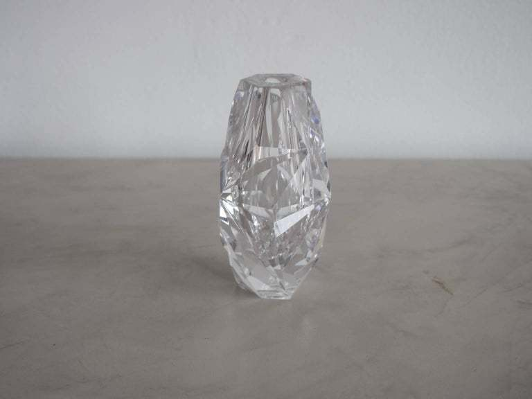 Clear Cut Glass Vase By Vicke Lindstrand For Kosta