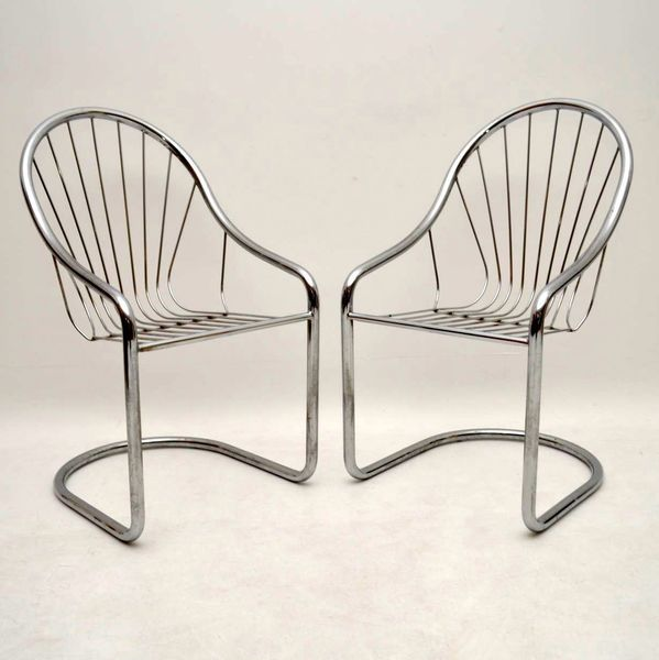 Pair Of Retro Chromed Steel Dining / Side Chairs Vintage 1960's