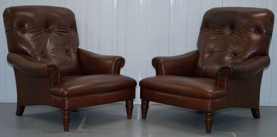 Super Pair Of Large Brown Leather John Lewis Lounge Armchairs Chesterfield Buttoned Dailytribune Chair Design For Home Dailytribuneorg