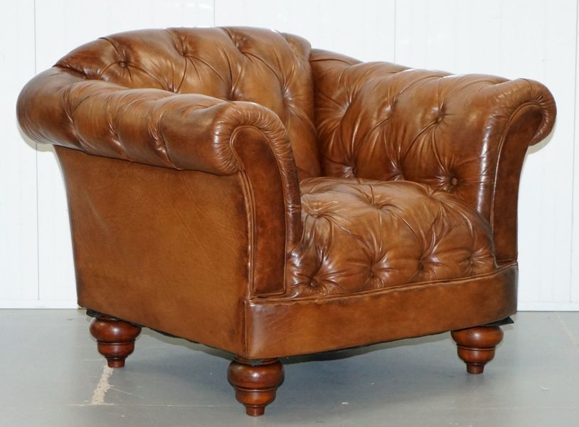 Aged Brown Leather Tetrad Chesterfield Club Armchair Heritage Leather