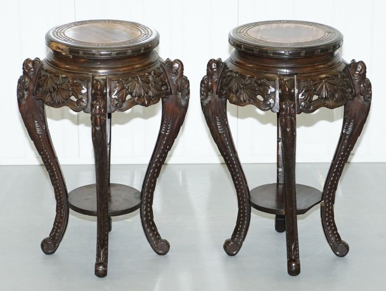 Lovely Pair Of Chinese Dragon Carved Wood Jardiniere Stands Very Old Distressed