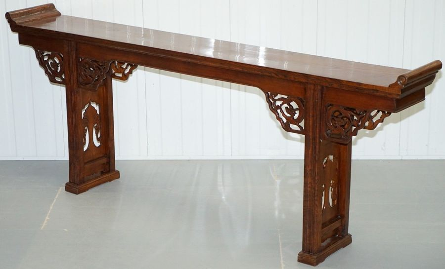 19 Th Century Chinese Elm Alter Table With Dragon Carved Detailing Large Ornate