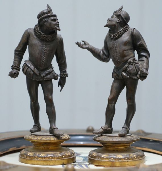 Pair Of Antique Bronze Statues Of Chaps Getting Ready To Duel Gloves Thrown Down