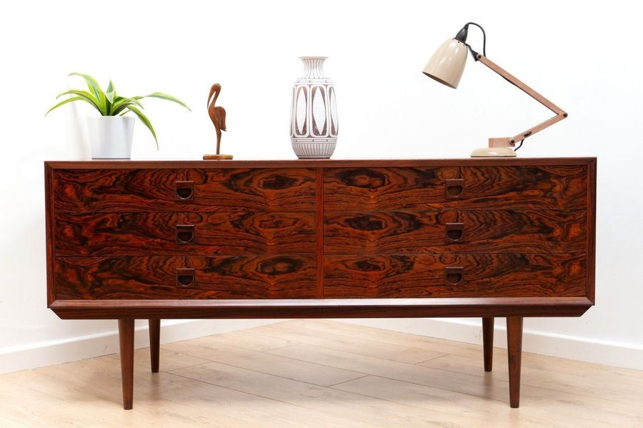 Stunning Mid Century Danish Rosewood Brauer Sideboard Console With Drawers
