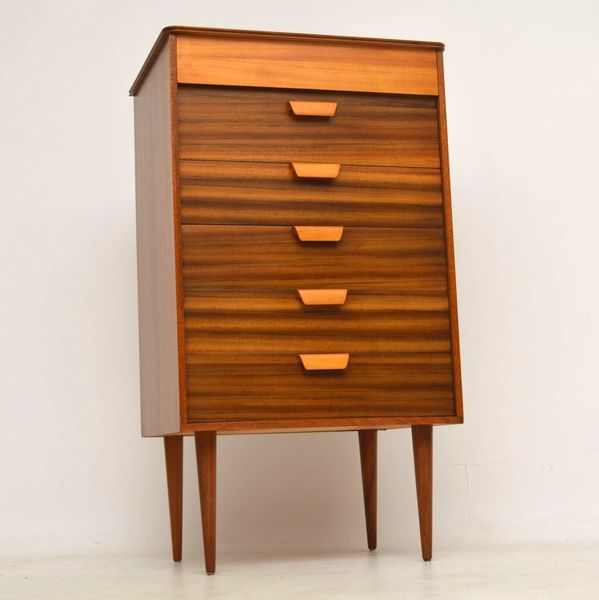 1950's Walnut Vintage Chest Of Drawers By Uniflex