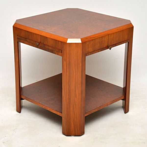 1920's Art Deco Vintage Walnut Coffee Table / Side Table
