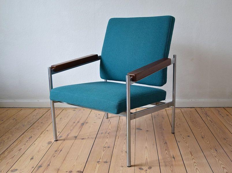 Danish Mid Century Kay Bæch Hansen Chrome & Teak Lounge Chair For Fritz Hansen,