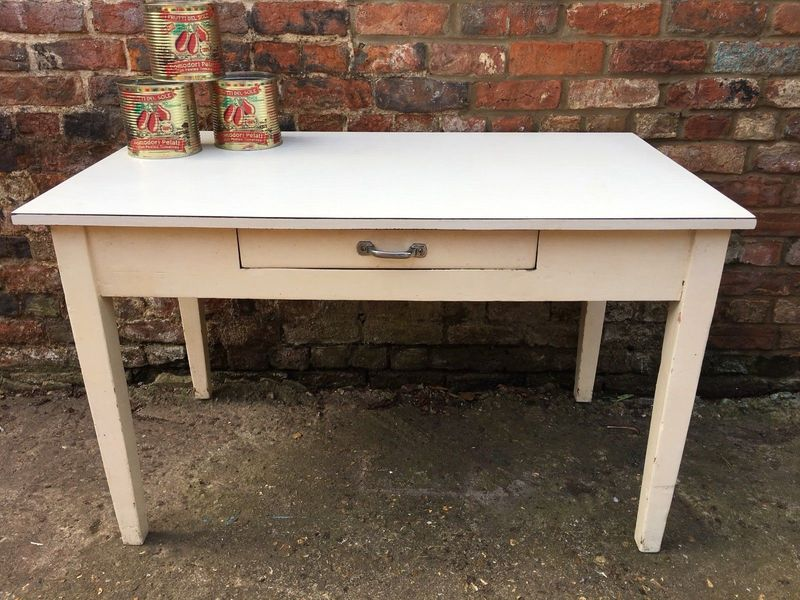 Lovely Formica Topped Oblong Wooden Table Kitchen With Drawer Retro